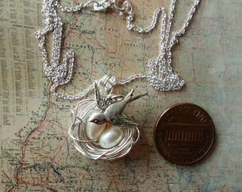 Bird Nest 2 EGGS WITH MAMA Bird Necklace  White Freshwater pearls Silver