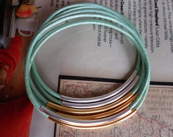 Bangles Bangle Bracelets Genuine leather Oasis Turquoise color with GOLD and Silver tubes