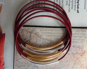 Bangles Bangle Bracelets Genuine leather Red Wine Birgundy color with GOLD and Silver tubes