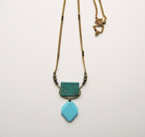Geometric Necklace. Turquoise and Stone.