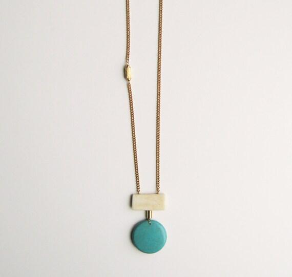 Geometric Chalk Turquoise Necklace.
