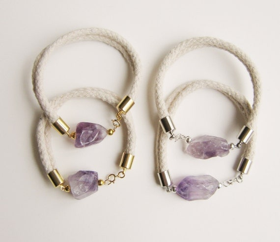 RESERVED FOR Francesca .Amethyst and Rope Bracelet.