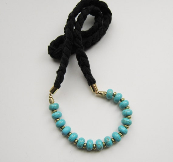 Black Braided Necklace with Howlite Rondelles.