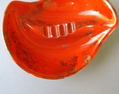 Orange Ashtray vintage 60s small ceramic