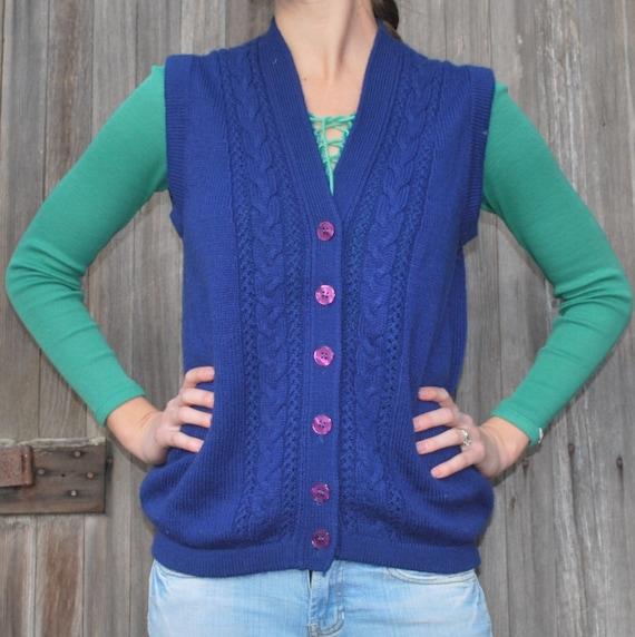 Blue Knit Cardigan Sweater Vest