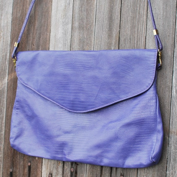 Vintage Large Purple Convertible Shoulder Bag Clutch