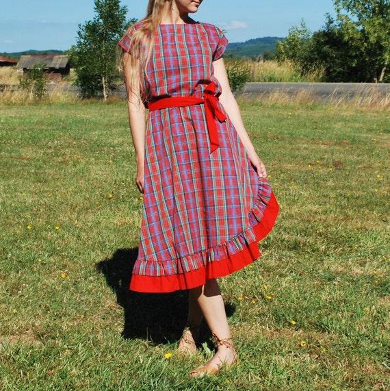 Vintage Asymmetrical Plaid Ruffle Dress