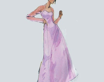Wedding dress pattern, prom or party dress pattern, long dress, wedding dress, bolero or shrug pattern, Size 12, 14, 16, 18, McCalls 3865