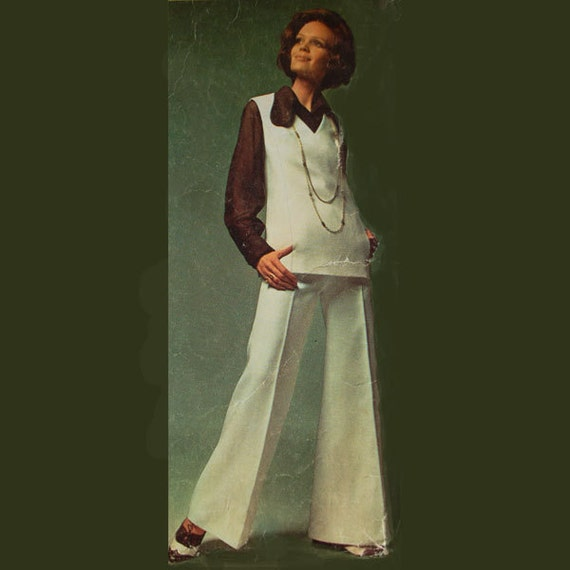 Misses' vintage bell-bottom pants, blouse and tunic patterns, Simplicity 8185, Size 10, Bust 32.5