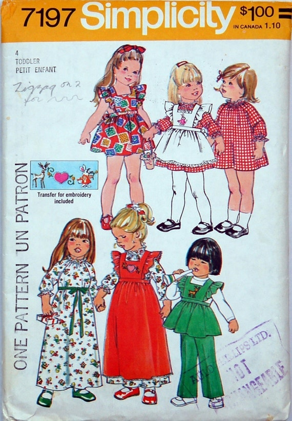 Toddlers Dress, Pinafore ( in 2 lengths) and Pants Patterns, Size 4, Bust 23, Simplicity 7197