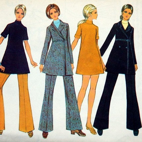 Empire waist coat, dress, and trousers pattern, Style 2621, Size 10, Coat UNCUT, copyright 1969