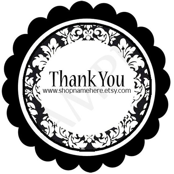 black damask fancy thank you round label template. Black Bedroom Furniture Sets. Home Design Ideas