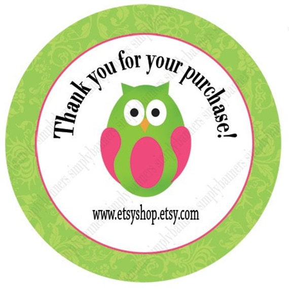 Green owl thank you round label template for 2x2 label template