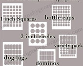 12 TEMPLATES - Bottle Cap, Scrabble, Dog Tags and Dominos PNG Templates (5) 4x6 AND (7) 8.5x11 Templates