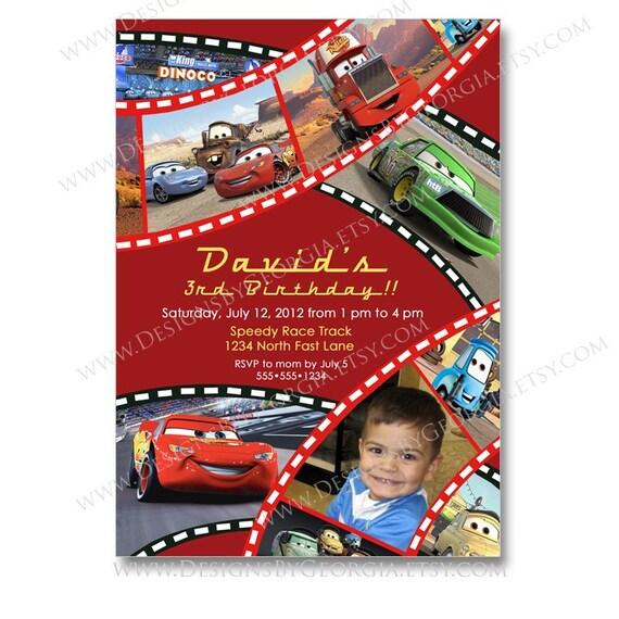 Disney Pixar Cars Birthday Invitation or Thank You Print Your Own