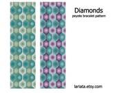 Diamond Pattern - Peyote Bracelet Pattern - INSTANT DOWNLOAD
