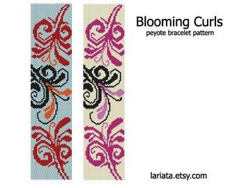 Blooming Curls - Peyote Bracelet Pattern - INSTANT DOWNLOAD