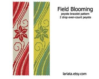 Field Blooming - 2Drop Peyote Bracelet Pattern - INSTANT DOWNLOAD