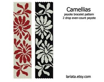 Camellias - 2Drop Peyote Bracelet Pattern - INSTANT DOWNLOAD