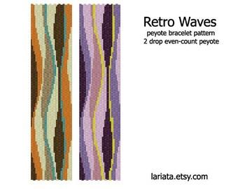 Retro Waves - 2Drop Peyote Bracelet Pattern - INSTANT DOWNLOAD