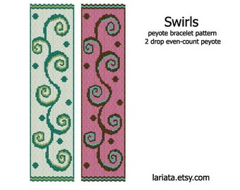 Swirls - 2Drop Peyote Bracelet Pattern - INSTANT DOWNLOAD