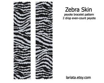 Zebra Skin - 2Drop Peyote Bracelet Pattern - INSTANT DOWNLOAD
