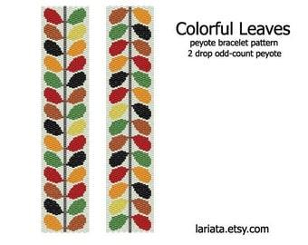 Colorful Leaves - 2Drop Peyote Bracelet Pattern - INSTANT DOWNLOAD