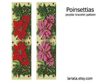 Christmas Poinsettias - Peyote Bracelet Pattern - INSTANT DOWNLOAD