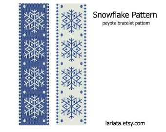 Snowflake Pattern - Peyote Stitch Bracelet Pattern - INSTANT DOWNLOAD