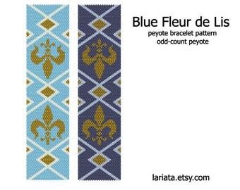 Blue Fleur de Lis - Peyote Bracelet Pattern - INSTANT DOWNLOAD