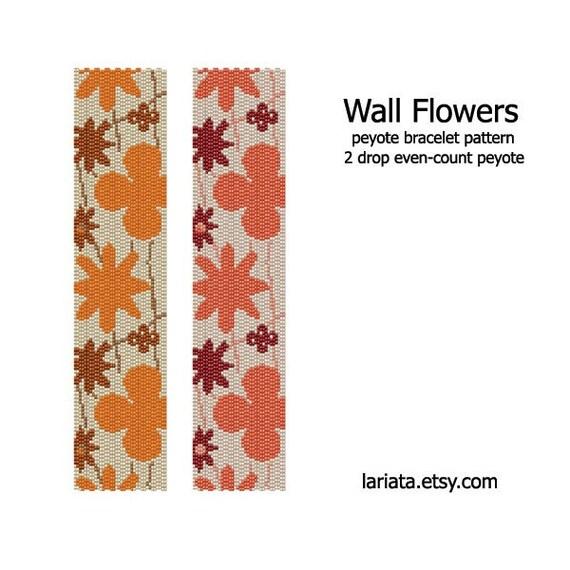 Wall Flowers - 2Drop Peyote Bracelet Pattern - INSTANT DOWNLOAD