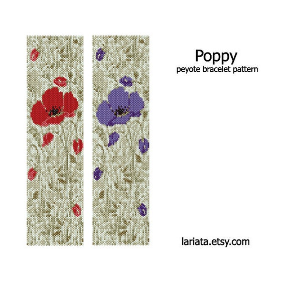 Poppy Design - Peyote Bracelet Pattern - INSTANT DOWNLOAD
