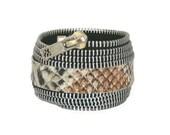 Rockstar Snakeskin Zipper Cuff Bracelet in Black - Statement Jewelry