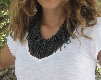 Fringe Leather Statement Necklace. Boho Chic Necklace. Leather Jewelry. Black Collar Necklace . Boho Bib Becklace. Womens Unique Gift.
