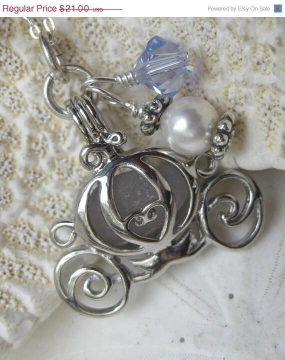 Cinderella Coach Sea Glass Necklace - Rare Lavender SeaGlass Locket plus Coupon