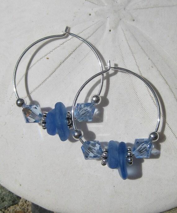Sea Glass Earings - Hoops With Cornflower Blue Sea Glass