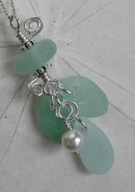 Sea Glass Necklace -The Ocean's Windchime- Sea Foam Seaglass