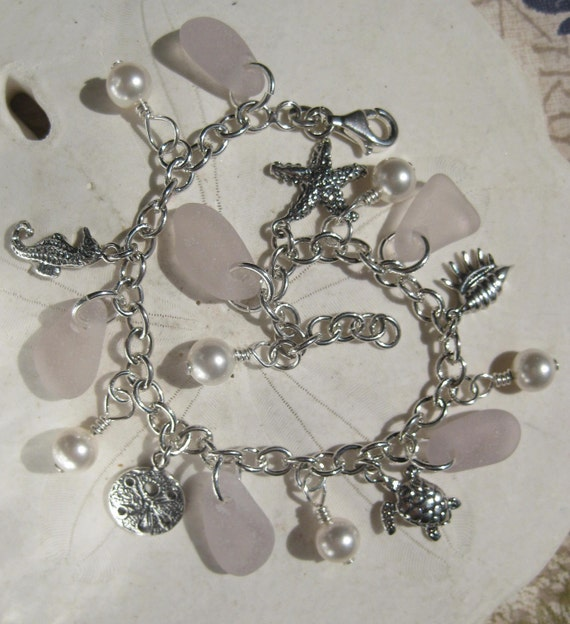 Sea Glass Bracelet - Stunning Lavender Lilac Seaglass and Nautical Charms in Sterling Silver
