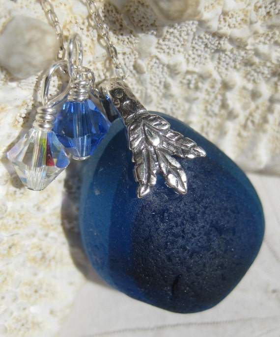 Sea Glass Necklace- A Collection of Blues Multi Seaglass -  Sterling Leaf Bail Pendant