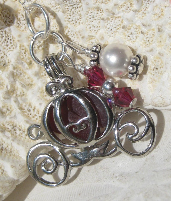 Cinderella Coach Sea Glass Necklace - Rare Red SeaGlass Locket plus Coupon