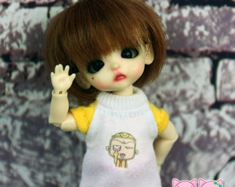 A110 - T-shirt for lati white Sp / pukipuki / felix brownie doll / obitsu 11 cms.