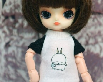 A147 - T-shirt for lati white Sp / pukipuki / felix brownie doll / obitsu 11 cms.