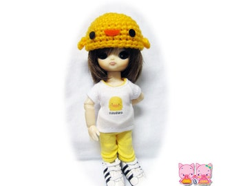 B165 - T-shirt , pants and crochet hat for hujoo baby
