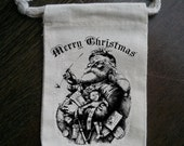 Old Fashioned Santa Christmas Muslin Party Favor / Gift Bag