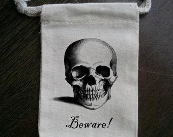 Skull Muslin Party Favor Bag
