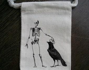 Skull & Crow Halloween Muslin Party Favor Bag