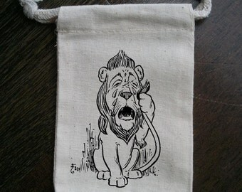 Vintage Wizard of Oz Cowardly Lion Muslin Party Favor Bag