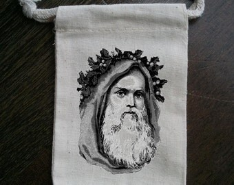 Old Fashioned Santa with Holly Christmas Party Muslin Favor Bag