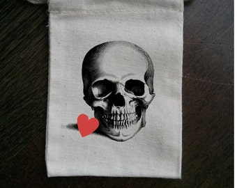 Skull with Heart Muslin Party Favor Bag