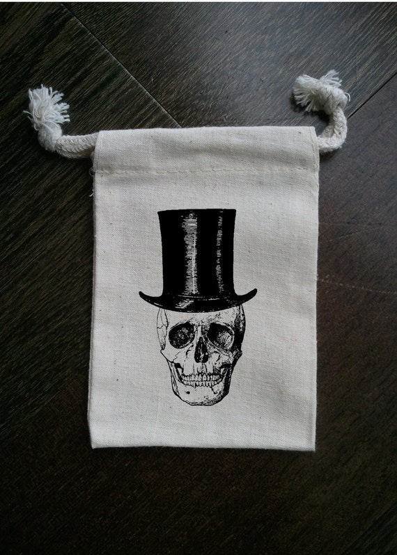 Skull in Top Hat Halloween Muslin Party Favor Bag